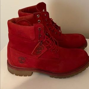 Blood Red Timberland Boots